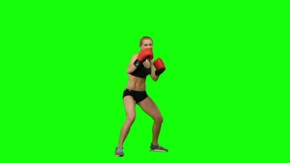 Thumbnail for Boxer Standing in the Front and Sends Butted an Opponent Standing on the Spot. Green Screen