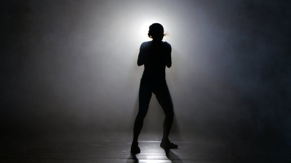 Thumbnail for Champion Boxer in the Smoke Sends Kicks. Silhouette. Lights Rear. Black Background