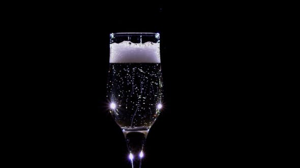Thumbnail for . Bubbles of Champagne Wine Sparkling in a Glass
