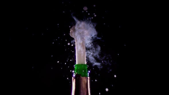 Thumbnail for Champagne Bottle Is Opened and Sprinkled. , Black Background