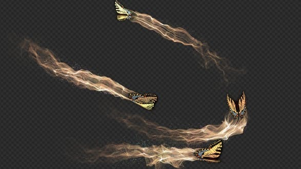 Yellow Butterfly Gorgeous Particle Light Trailing Flying V3
