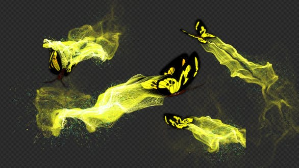 Light Yellow Butterfly Gorgeous Particle Light Trailing Flying V1