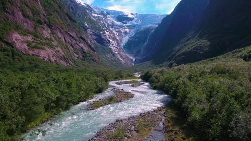 Beautiful Nature Norway Glacier Kjenndalsbreen.