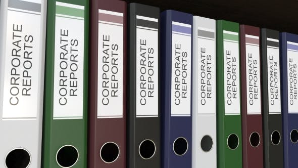 Thumbnail for Line of Multicolor Office Binders with Corporate Reports Tags