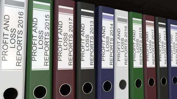 Thumbnail for Line of Multicolor Office Binders with Profit and Loss Reports Tags Different Years