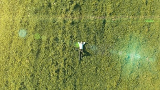 Thumbnail for Vertical Motion Flight Over Businessman Lying on Fresh Green Meadow. Top View on Relaxing Man.