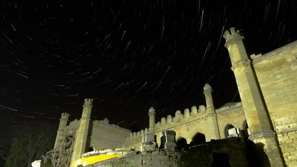 Thumbnail for Star Trails Over Scenic Abandoned Ruin of Building