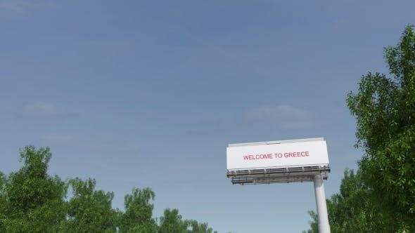Thumbnail for Approaching Big Highway Billboard with Welcome To Greece Caption