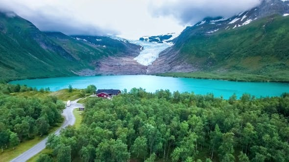 Thumbnail for Svartisen Glacier in Norway Aerial View.