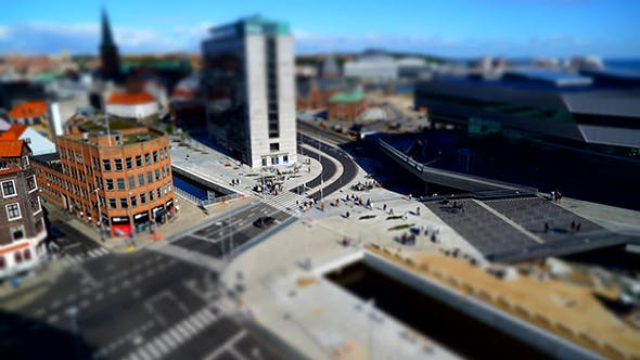 Thumbnail for Tilt Shift Aerial View In Aarhus Denmark