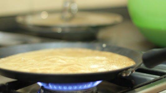 Preparation Of Pancakes On Frying Pan