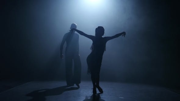 Thumbnail for Smoke Background. Dance Element From the Jive, Silhouette Couple Ballroom