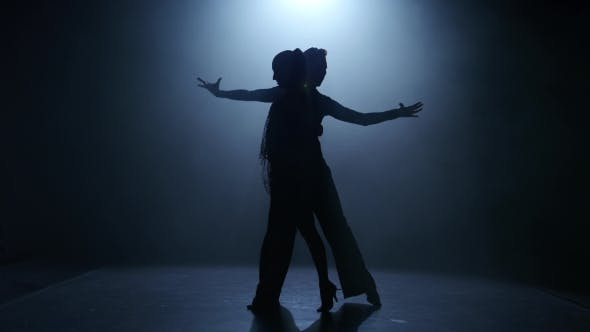 Thumbnail for Dance Element From the Ballroom-sport Program, Silhouette Couple Ballroom. Smoke