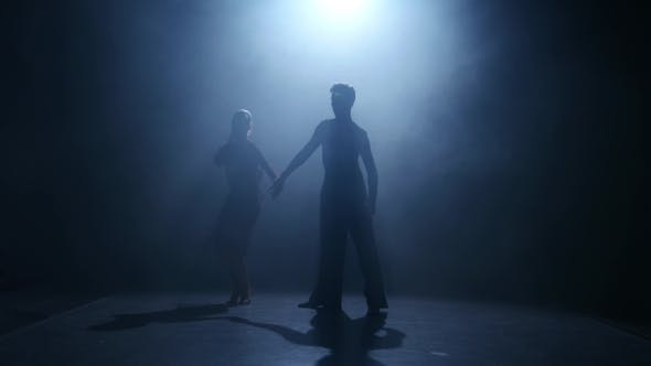 Thumbnail for Dance Element From the Jive, Silhouette Couple Ballroom. Smoke Background