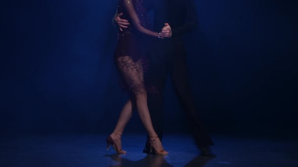 Thumbnail for Couple Dancers of Jive Posing on the Floor, Blue Background