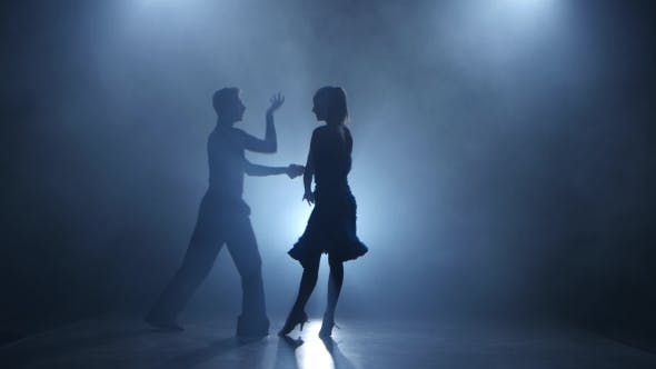 Thumbnail for Dance Rumba Performed By Professional Couple in Smoky Studio, Silhouette
