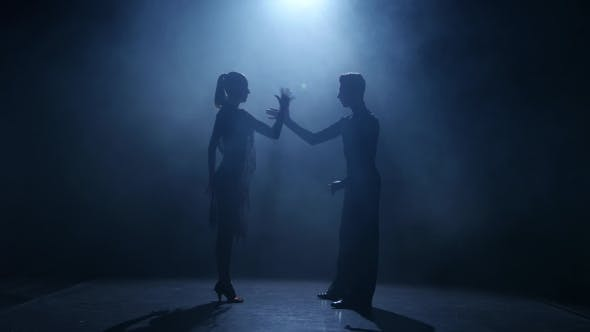 Thumbnail for Black Background. Dance Element From the Rumba, Silhouette Couple Ballroom