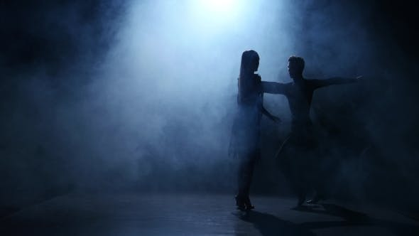Thumbnail for Dance Element From the Latina, Silhouette Couple Ballroom. Smoke Background