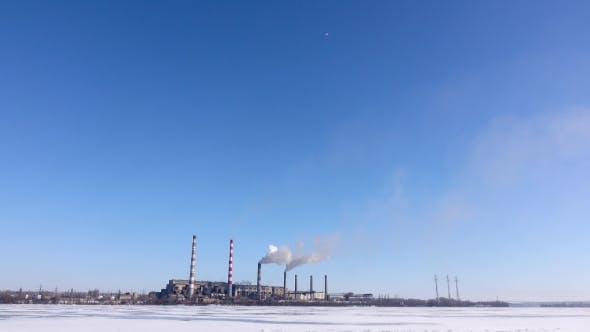Thumbnail for Industrial Landscape of the Area. Smokestacks Pollute Atmosphere, Heavy Industry