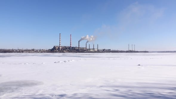 Thumbnail for Smokestacks Pollute Atmosphere, Heavy Industry. Industrial Landscape of the Area