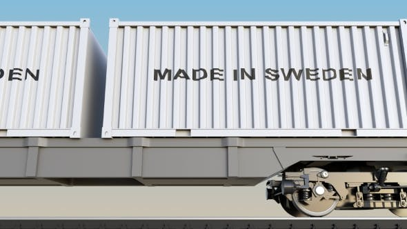 Thumbnail for Moving Cargo Train and Containers with MADE IN SWEDEN Caption