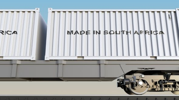 Thumbnail for Moving Cargo Train and Containers with MADE IN SOUTH AFRICA Caption