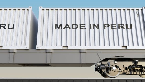 Thumbnail for Moving Cargo Train and Containers with MADE IN PERU Caption