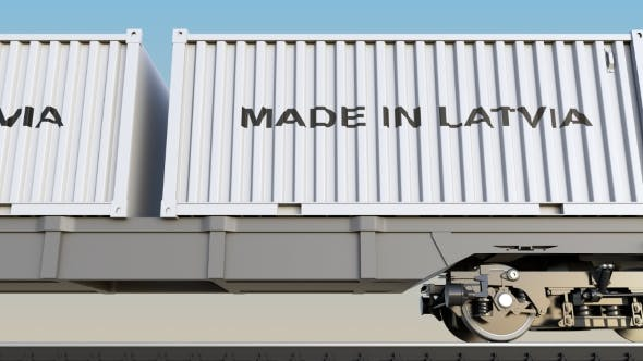 Thumbnail for Moving Cargo Train and Containers with MADE IN LATVIA Caption