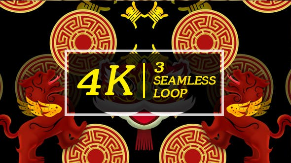 Thumbnail for Chinese Lion Dance Background VJ Loops Part 2
