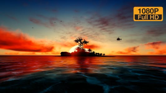 Thumbnail for Hubschrauber auf Sunset Palmeninsel