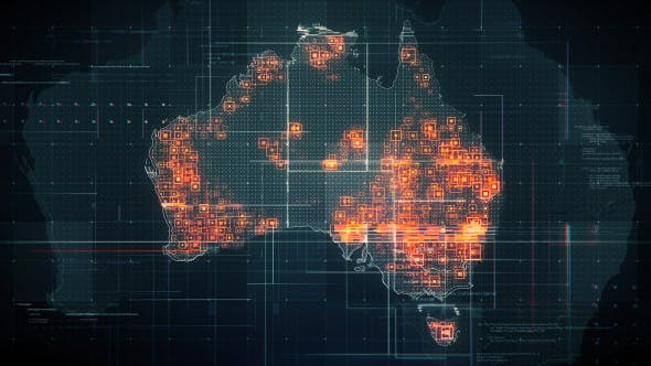 Thumbnail for Black Australia Map with Lines Rollback Camera 4K