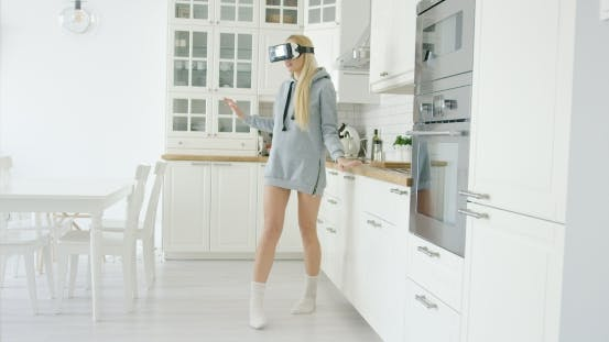 Young Woman Experiencing VR Glasses