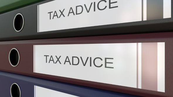 Office Binders with Tax Advice Tags