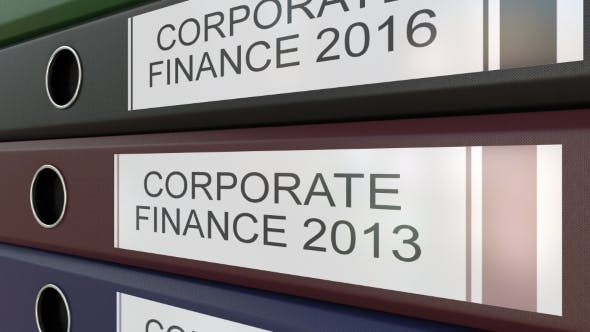 Thumbnail for Office Binders with Corporate Finance Tags Different Years