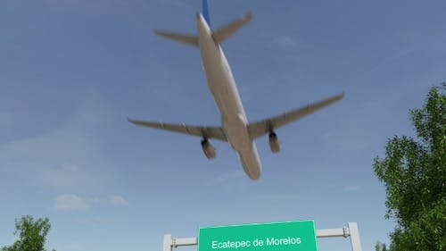 Airplane Arriving To Ecatepec De Morelos Airport Travelling To Mexico