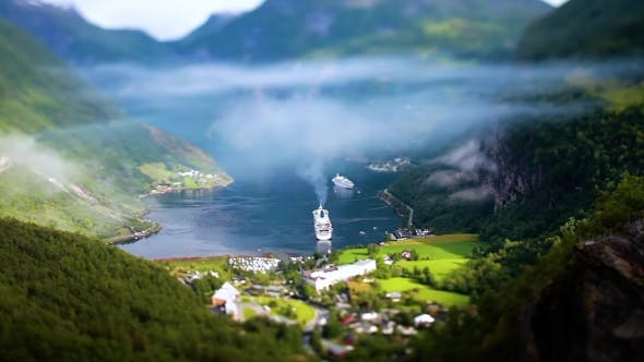Thumbnail for Geiranger Fjord, Norway Tilt Shift Lens.