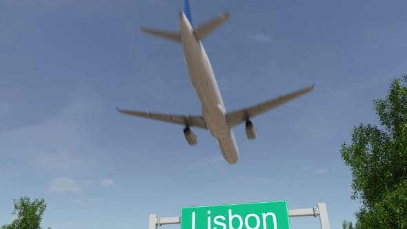 Airplane Arriving To Lisbon Airport Travelling To Portugal