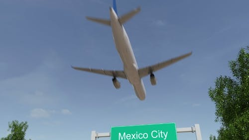 Airplane Arriving To Mexico City Airport Travelling To Mexico
