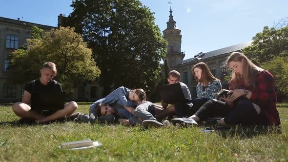Thumbnail for Group of Tired Students Studying Hard on Park Lawn