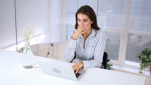 Wondering Hispanic Woman Gesturing Shock at Work, Failure