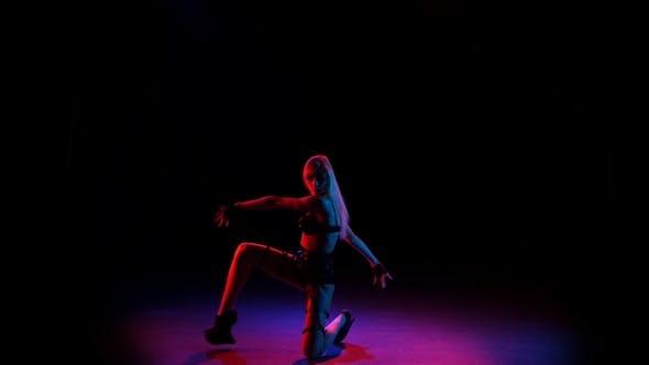 Thumbnail for Erotic Girl Pj Is Dancing in Studio in Leather Lingerie
