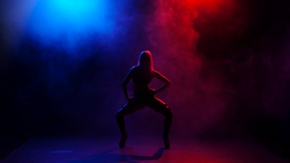 Thumbnail for Nightclub Sexy Girl Dancer Performing on Stage in Bright Lights