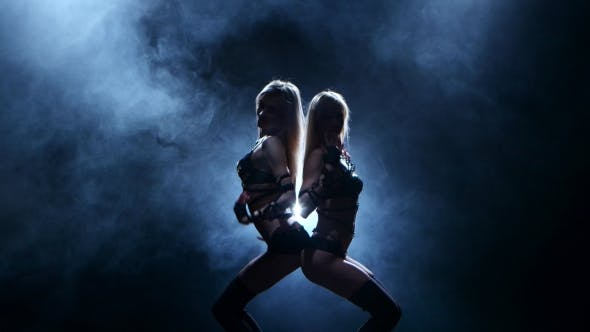 Thumbnail for Twosome Erotic Girl Are Dancing Together in Dark Smoky Studio