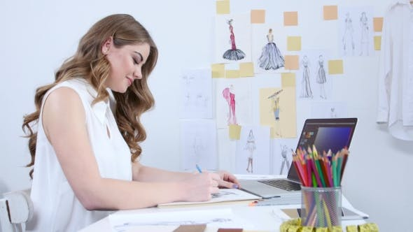 Thumbnail for Artist in Her Workshop Creates Masterpieces, Draws Sketches for the Summer Collection