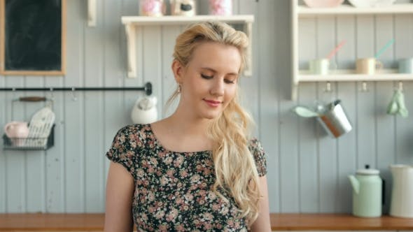 Thumbnail for Attractive Woman in the Kitchen, Morning Portrait of Beautiful Caucasian Girl with Red Lips
