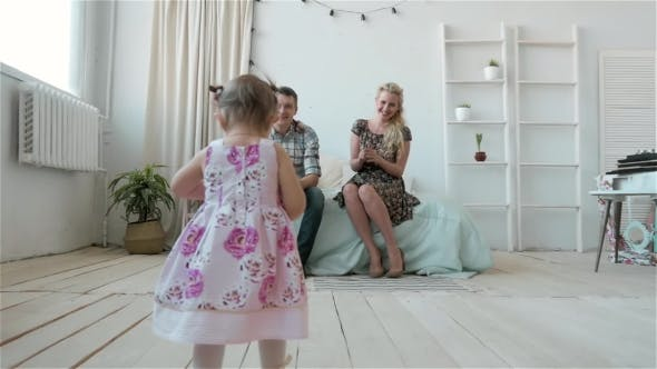 Thumbnail for People, Family and Morning Concept - Happy Child with Parents in Bed at Home, Portrait of Adorable
