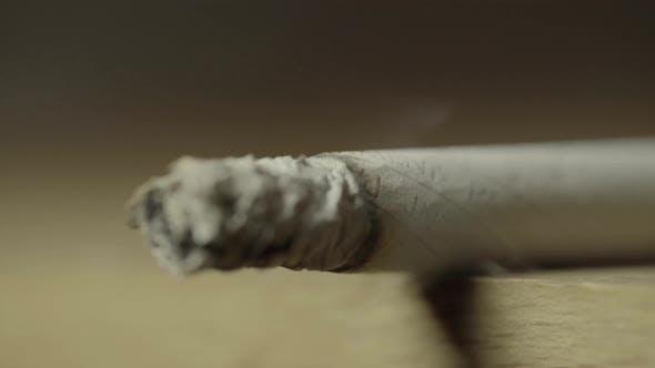 Smoking Cigarette Close-up. Macro
