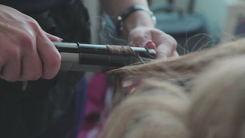 The Process of Creating Styling - Voluminous Curls. Beauty Saloon.