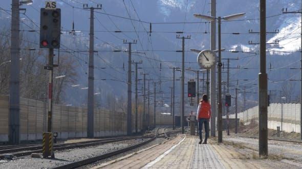 Thumbnail for Woman Walking on Platform Waiting for Train