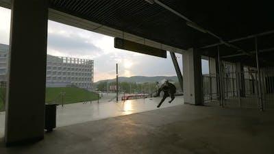 Man practicing parkour moves